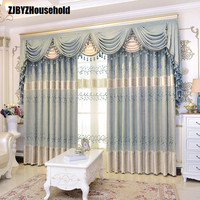 Athena Pure Korean Garden Chenille Embroidery Europe Style Luxury Curtains for Living Room Modern Window Curtain Valance Bedroom