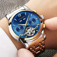 Ailang reloj del calendario de los hombres de la marca de lujo Brillante Zafiro Tourbillon reloj mecánico automático de múltiples funciones b2603-10