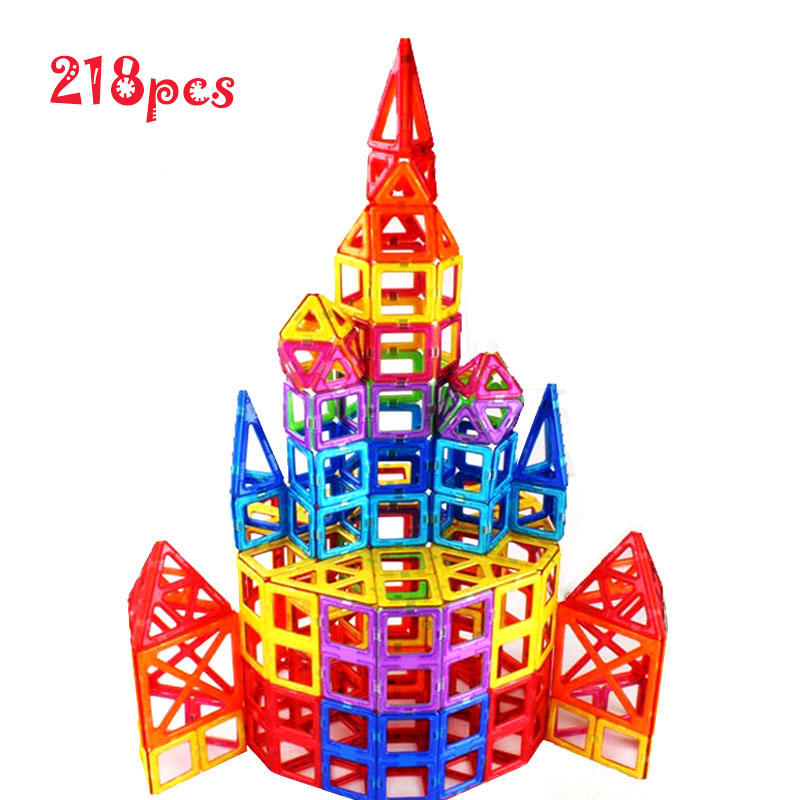 Magnetic Building Block  Toy 218 Pieces Starter Inspire, Preschool creative 3D Educational Game Construction Stacking Skill set t3184b educational toy coin slide chip game toy playing toy set