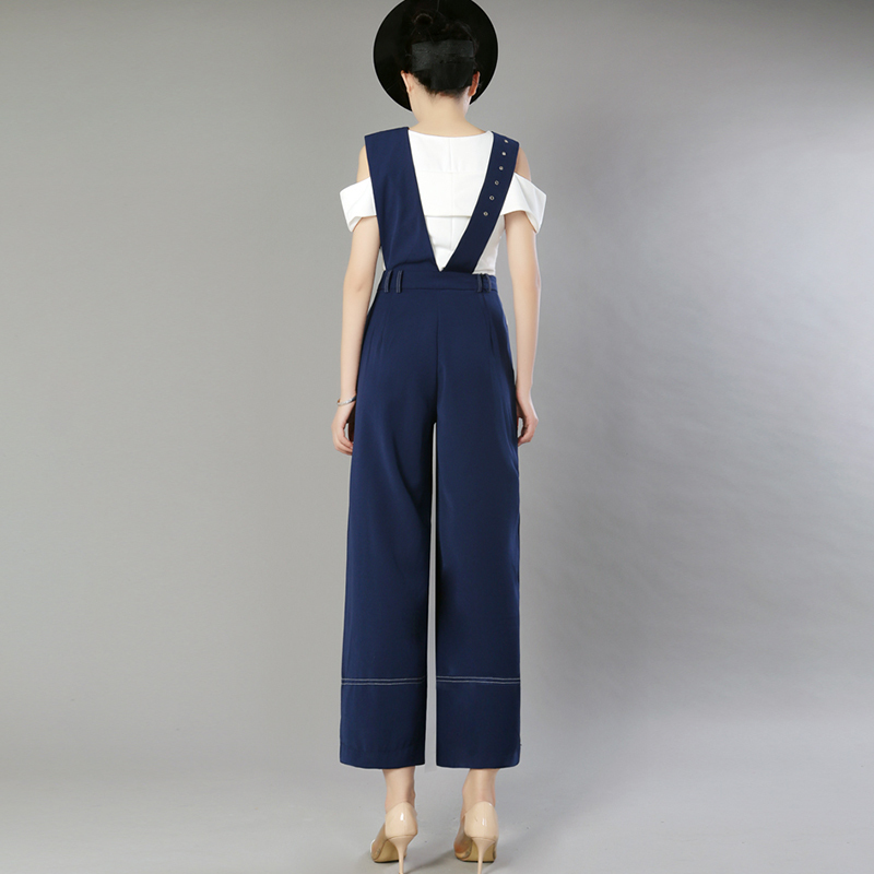 2d8910267c52 TWOTWINSTYLE Ribbons Jumpsuits Women High Waist Patchwork Adjustable  Suspenders Wide Leg Pants Female Spring Summer Korean New-in Jumpsuits from  Women s ...