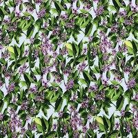 100 × 140センチファッションウィーク紫レモンフローラルグリーン葉ホワイトストレッチ綿サテン生地の夏ドレスDIY-AF069