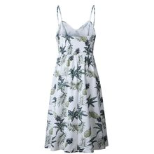 2018 Casual Boho Style Sunflower Pineapple Floral Print Summer Dress Women Beach Tunic V Neck Strap Backless Midi Vestidos