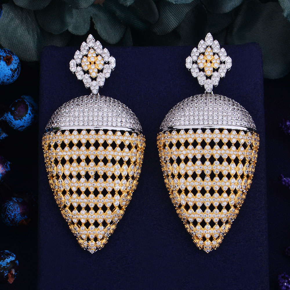 GODKI 69mm Luxury Popular Luxury Geometry Pineapple Full Mirco Paved Crystal Zirconia Naija Wedding Earring Fashion
