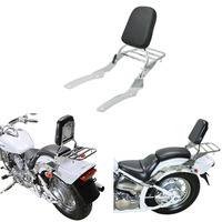 Chrome Motorcycle Chrome Backrest Sissy Bar With Luggage Rack Backrest Pad For Yamaha V Star Vstar 650 400 Custom 1996 2011