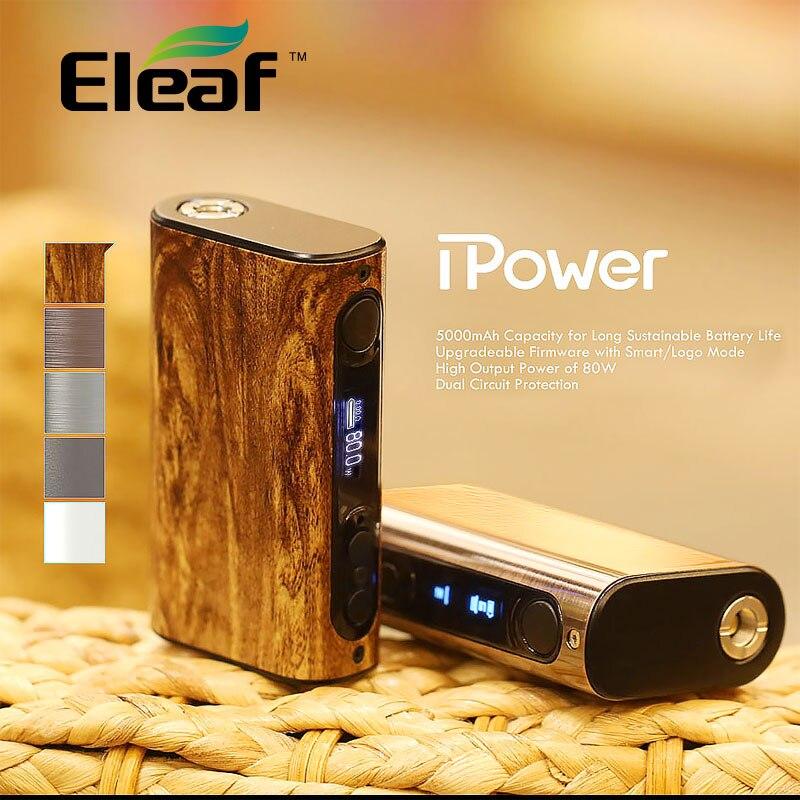 100% d'origine Eleaf iPower MOD 80W avec 5000 mAh batterie intégrée Boîte de contrôle de la température Mod nouveau vaporisateur de firmware mode intelligent