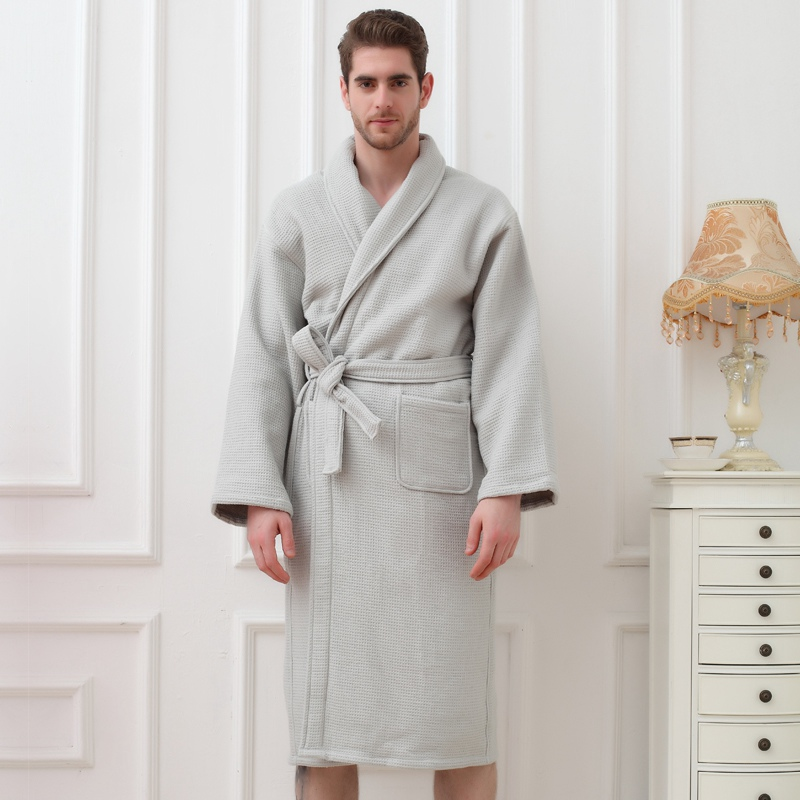 Thick Cotton Men's Bathrobes Long Soft Warm Gentlemen Homewear Male Robe Sleepwear Lounges Pajamas Bathrobes White Winter Autumn