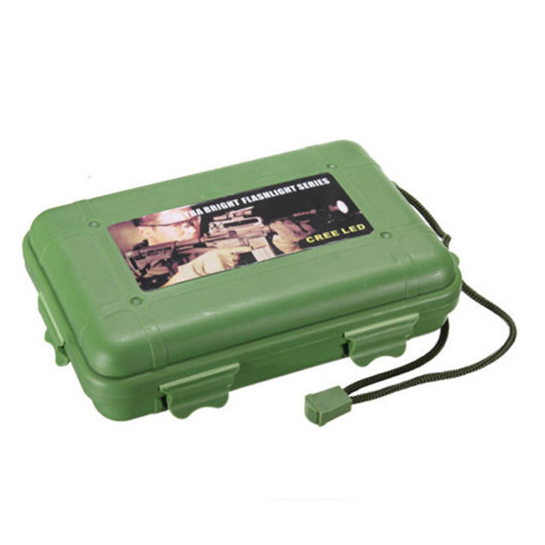 Universal Waterproof Anti Fall Green Plastic Storage Box Suitable For Flashlight Light Torch Lamp With 13 X 8 X 3.5cm
