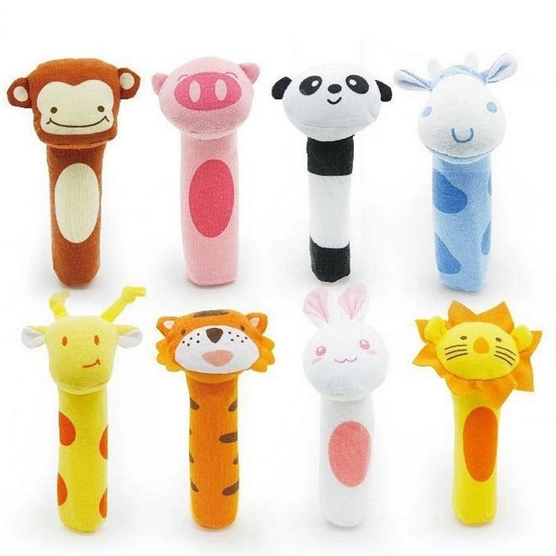 New Baby Rattle Toy BIBI Bar Animal Squeaker Toys Infant Hand Puppet Enlightenment Plush Doll 8 Design KF983