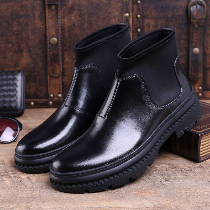 Moda Mano Hombres Botines Punta Superior A De Cowboy Redonda Alta Diseñador Js72 Negro Plataforma Hombre Auténtico Zapatos Hecha Chlesea Cuero Riding xUAEy6