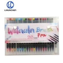 LIHUACHEN 20 צבע פרימיום ציור רך מברשת עט סט צבעי מים סמני עט אפקט הטוב ביותר עבור ספרי צביעה מנגה קומיקס