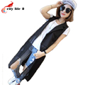 Chiffon Stitching Long Vests New Summer 2016 Suits Sleeveless Women Vest Coat  Female Chalecos Casual Lapel Gilet Femme