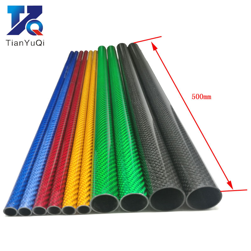 TianYuQi  2 PCS Color 3K Carbon Fiber Circular Tube Length 500mm High Hardness OD  12mm 16mm 20mm 25mm  Blue Red Silver Green