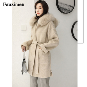 Image 2 - Cashmere Jacket Women Ladies Hand Made Women Fox Fur Collar Wool Coat Casual Winter Wool Jacket Woolen Overcoat Cashmere Coat
