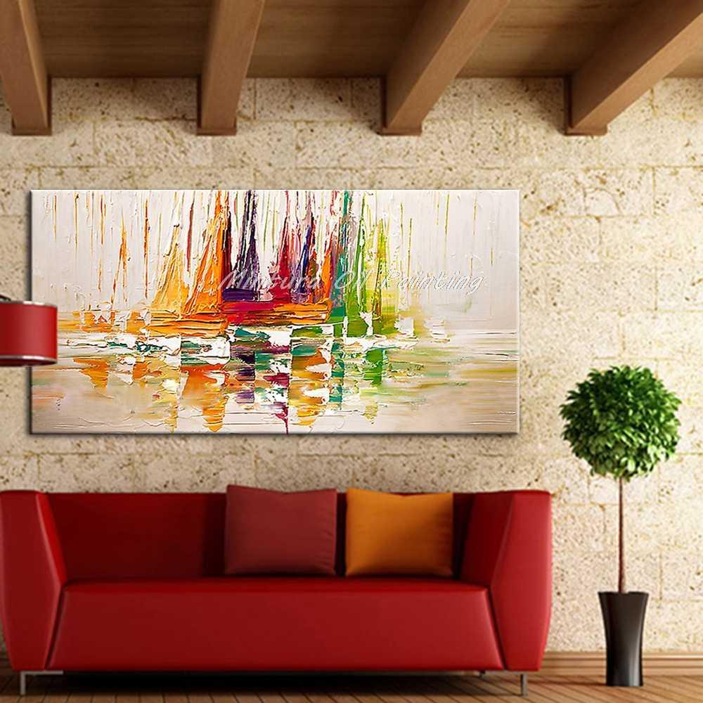 Mintura jacht statek łodzie żeglarstwo ręcznie malowane duże rozmiary zdjęcia Decoracion obrazy olejne na płótnie dekoracje ścienne do salonu