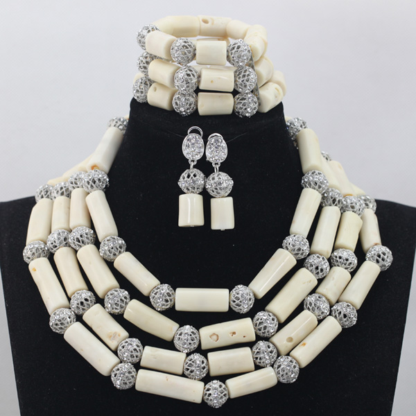 Fashion Milk White 4 Rows African Coral Beads font b Jewelry b font Sets Indian font