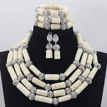 Fashion Milk White 4 Rows African Coral Beads Jewelry Sets Indian Jewelry Sets Bridal Necklace Jewelry Sets Free Shipping CJ755