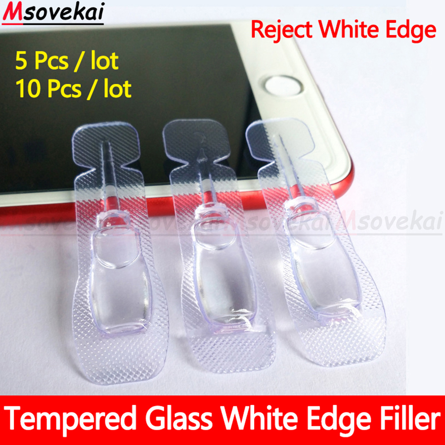 10PCS 2.5D Arc Edge Phone Toughened Glass Film White Liquid Oil Removing Filler Film Sticking Tool White Edge Repairing Liquid