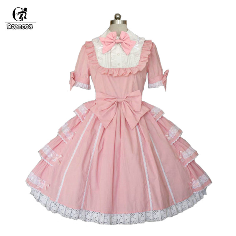 ROLECOS Pink Princess Dress For Girls Sweet Lolita Dress Slim Fit Short Sleeve With Bowknot Puff Skirt Party Dress Female 2018