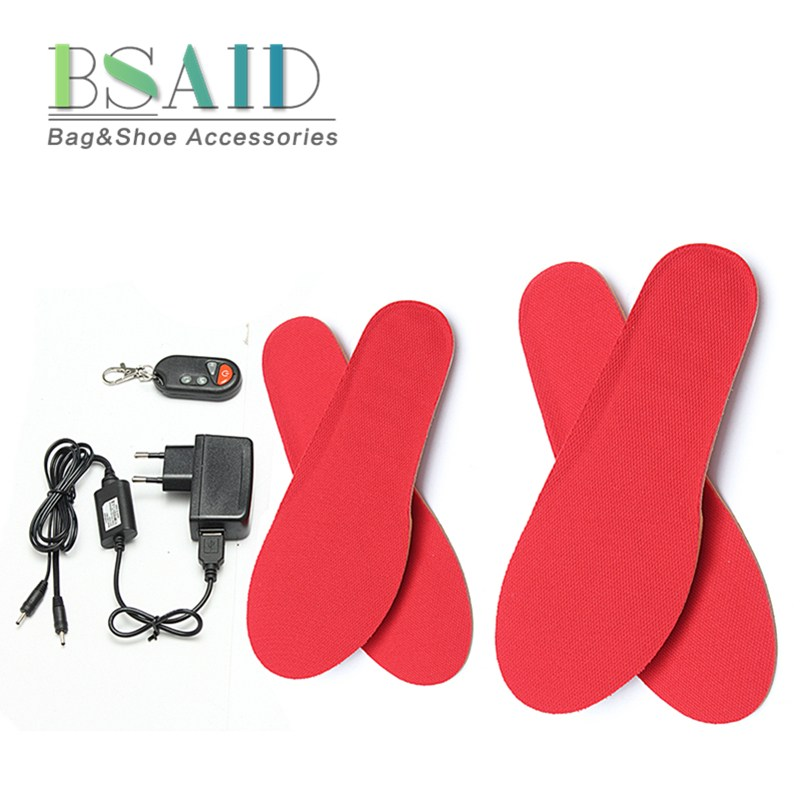 BSAIS Electric Heated Insole, Remote Control USB Electrically Thermal Insoles, Keep Warm Winter Shoes Boots Insole Foam Material new electric warm heated insole with remote control winter breathable thick plush insoles shoes boots soles foam material 2000ma