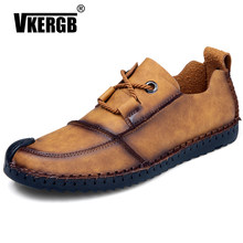 2018 Genuine Leather Loafers Men brand Designer Casual Men Shoes Lace Up Shoes Men Classic Fashion Male Khaki Shoes VKERGB(China)
