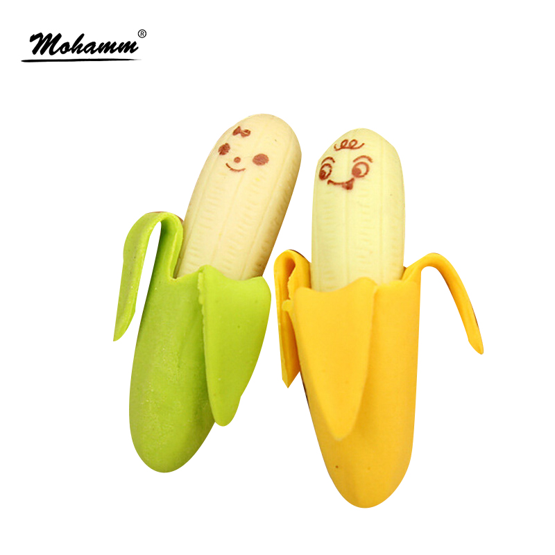 2 Pcs/Lot Kawaii Cute Cute Banana Eraser Fruit Pencil Rubber Novelty For Kids School Supplies Student Office Stationery 1pcs lots cartoon color stationery eraser for study cute fruit series rubber earsers office material school stationery supplies