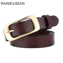 RAINIE SEAN Genuine Leather Women Belt Brown Square Buckle Belts For Real 2019 New Female Jeans