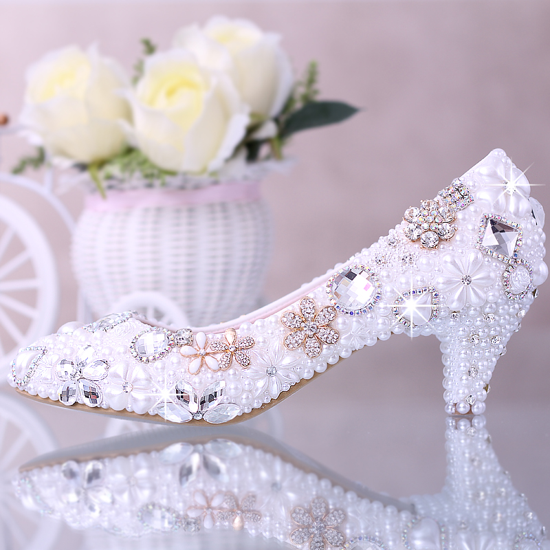 pumps women Pearl story with the bride wedding dress shoes shoe slipper Diamond Flower pointed shoes Asakuchi shoes