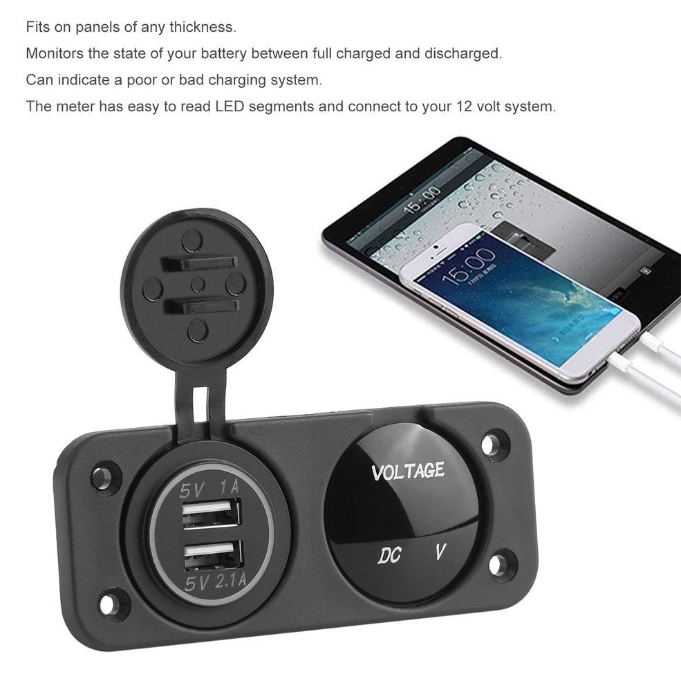 12 24V Dual USB Socket Mount Car Charger Adapter Blue LED Digital Display Voltmeter 2 Hole Waterproof Car Boat Marine Panel|Volt Meters| |  - title=