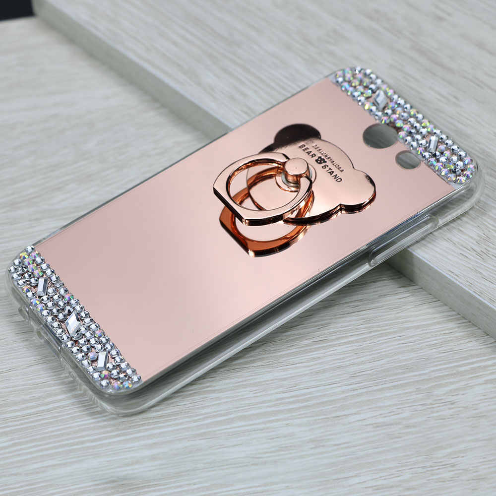 Diamond Glitter Mirror Cases for Huawei P 8 10 P 8 9 10 Lite Cover 360 Ring Phone Holder Case For Huawei Honor 8 Lite Cover Bag