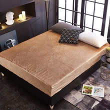 Luxury 5D Embossed Velvet Waterproof Bed Sheet Warm Flannel Fleece Fitted Sheet Bed Solid Color 28cm Hight Free Shipping