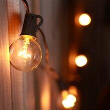Tira de luces de globo de 25 pies G40 con bombilla transparente, luces de Patio para Patio trasero, lámpara Vintage, decoración de boda, guirnalda impermeable para exteriores