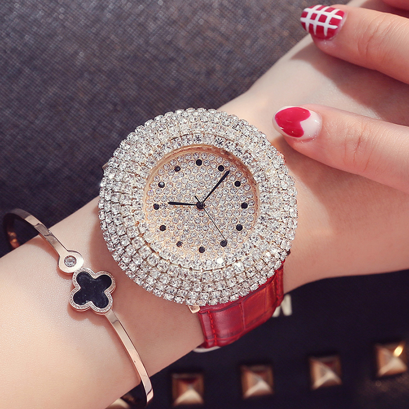 Exquisite Rhinestone Crystal Dial Quartz Wristwatches 4 Fashion Colors Women's Watches Leather Band Strap Beauty Lady Best Gifts matisse lady austria full crystal dial