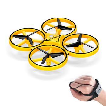 Juguetes De Dron de inducción interactiva Quadcopter luz LED RTF UAV avión reloj inteligente Control remoto UFO Drone niños regalo