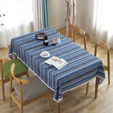 Bohemia Table Cloth Red Blue Green Wave Geometric Cotton Linen Dining Rectangle TableCloth Dustproof For Kitchen Cover 1pc