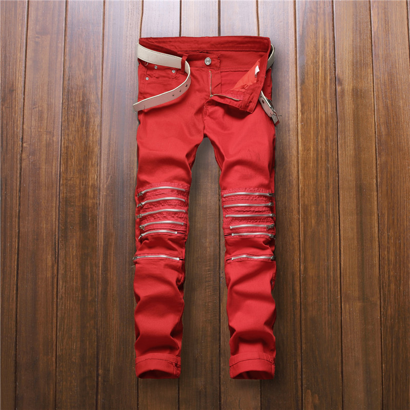 2016 New Fashion Designer Red Stretch Jeans Men Spandex Jean Pants Famous Brand With Zipper Slim Fit Pencil Jeans Size 30 To 36  2016 new fashion mens designer ripped stretch biker jeans slim fit elastic skinny pencil jean pants famous brand black red white
