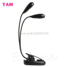 2 Dual Flexible Arms 4 LED Clip-on Light Lamp for Piano Music Stand Book EA G08 Drop ship(China)