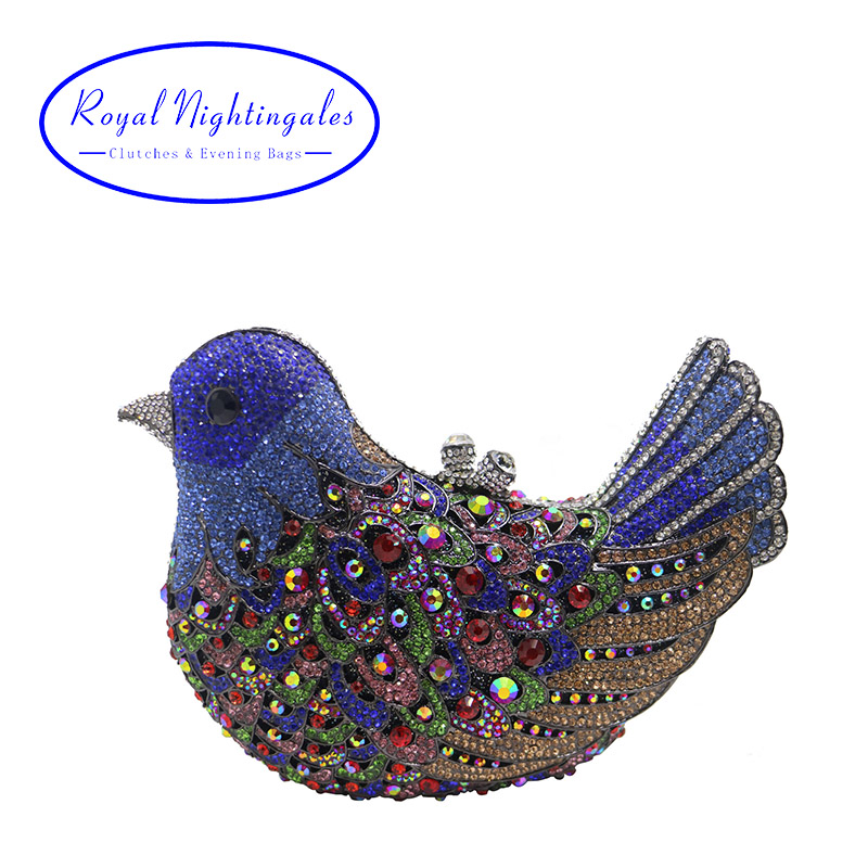 Dark Green/Royal Blue Bird Evening Bag Metal Clutch Bags for Womens Wedding Prom Dinner Party Luxury Hard Case Crystal Clutches colourful bird women evening luxury bags crystal clutches laides evening bag female party hard case bags wedding clutch purses