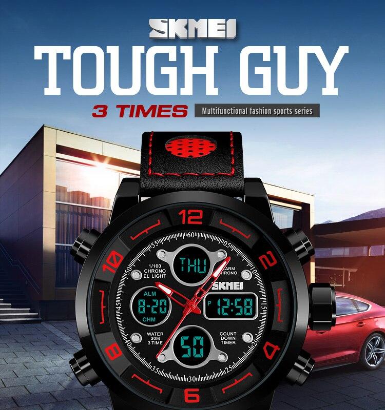 SKMEI 2019 Men\`s Wrist Watches Top Brand Luxury Watch Men Sports Leather Watches Business Digital Watch For Men reloj hombre (1)