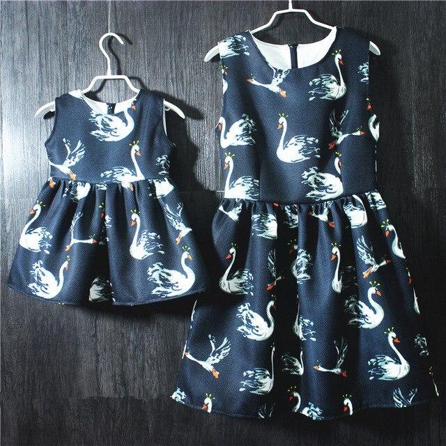 Семьи сопоставления одежда мать дочь платья без рукавов большой плюс размер Европейский цельный женщины сарафан дети девочки платья