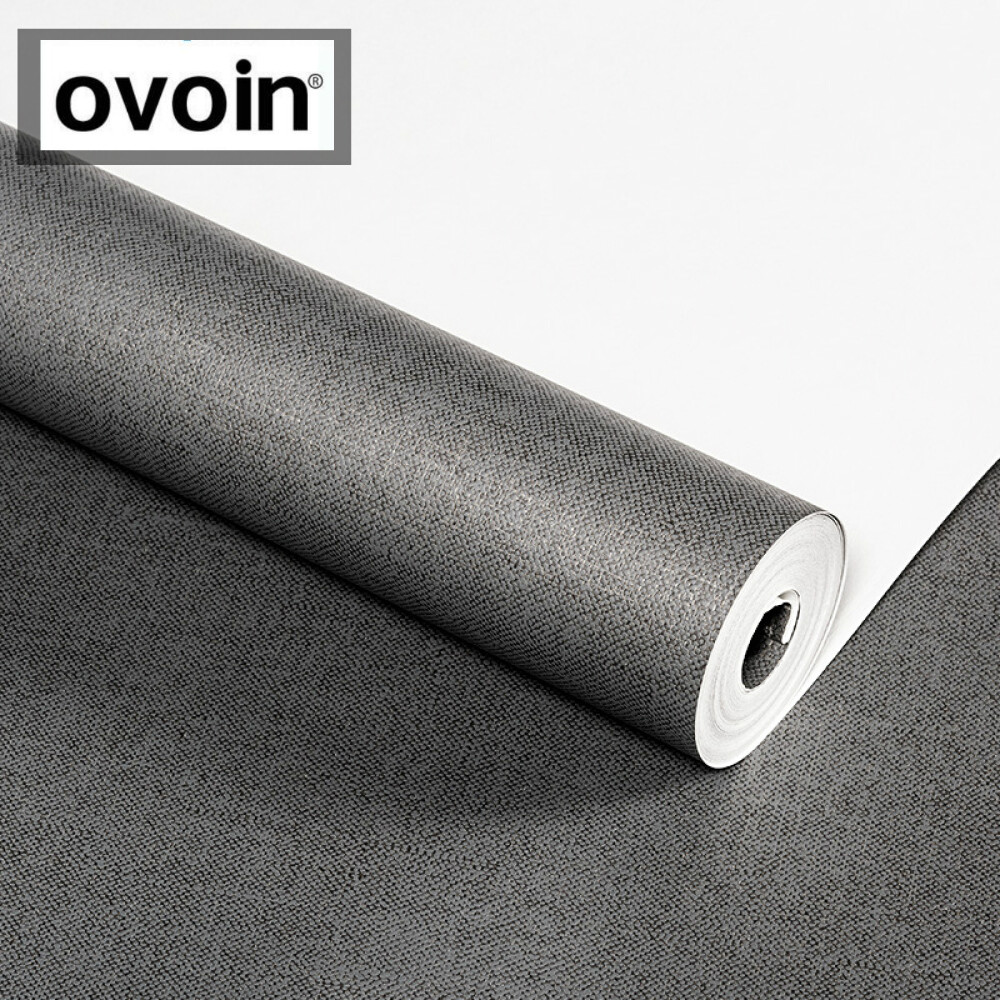 Image 3 - Black Metallic Plain Linen Textured Wallpaper Roll Modern Woven Effect Simple Solid Color Wall Paper Dark GreyWallpapers   -