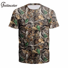 f8fa14e1dc0fe Feelincolor Hunting Festival Men Summer Outdoor Camouflage t shirt Tree  Leaves 3D Digital Printed Tops Fashion O Neck Tee