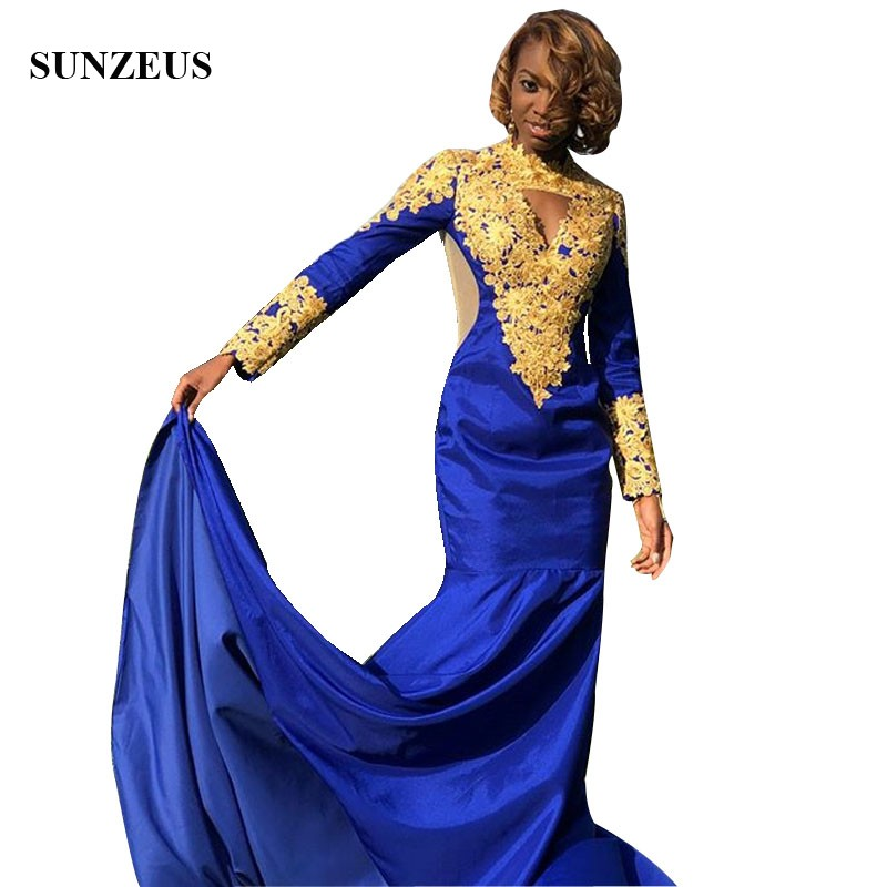Royal Blue And Gold   Prom     Dresses   Mermaid High Neck Long Sleeves Party Gowns African Black Gowns Formal Wear vestidos
