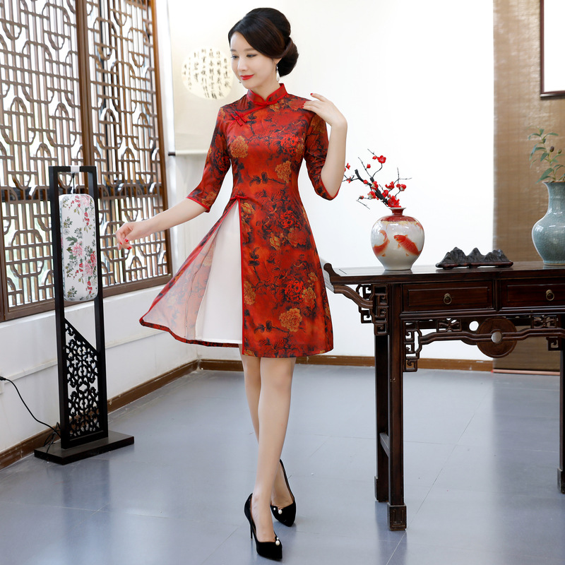 AO Dai Short Cheongsam Novelty Chinese style Mini Dress Womens Summer Rayon Qipao Slim Party Dresses