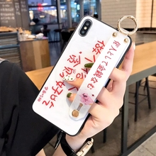 Fashion Words Case with Strap Holder for iPhone 7 8 plus 6 Tide Crystal XS MAX XR X Back Shell Cover