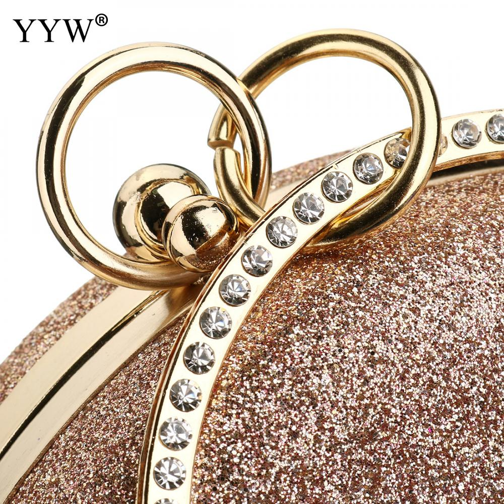Image 5 - Women Wedding Evening Clutch Round Bag Purses Handbags Crossbody Party Shoulder Bags Clutch Rose Gold Gillter Handbag-in Top-Handle Bags from Luggage & Bags