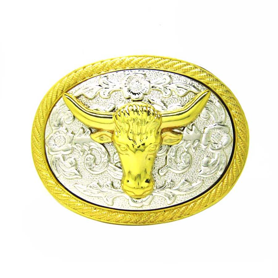Bull Head Floral Flower Western Cowgirl Cowboy Belt Buckle