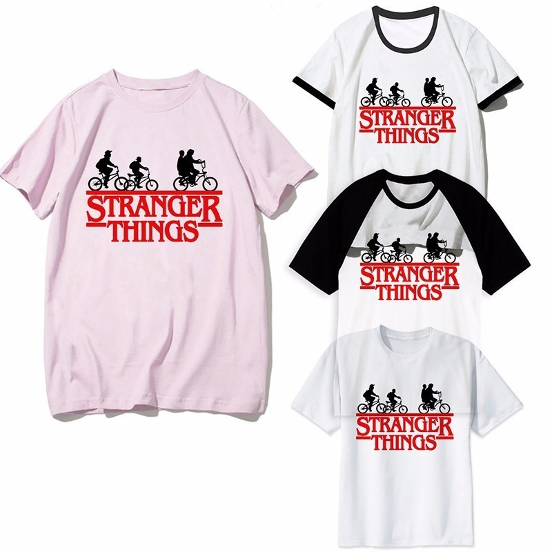 Stranger Things T Shirt Women Men Harajuku Funny Movie Shirt Upside Down Eleven Tshirt Fashion Male Women Homme Pink T-Shirt(China)