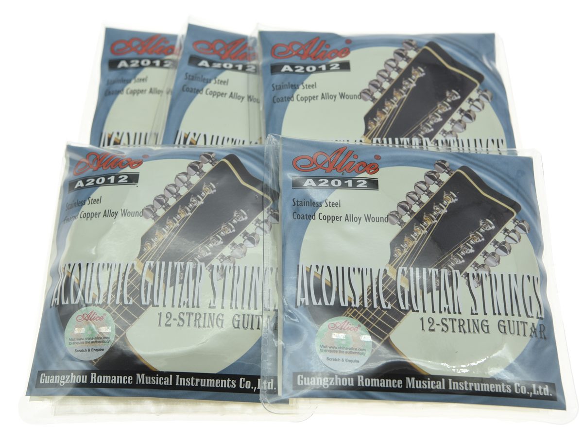 5 Sets 12-String Acoustic Folk Guitar Strings 1st-12th Stainless Steel Coated Copper Alloy Wound 3 sets alice aw466 light acoustic guitar strings plated high carbon steel