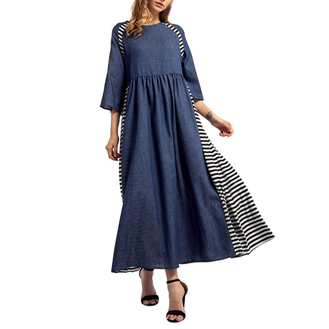 Women fashion Striped Denim Long Dresses Islamic Muslim Middle East Half Sleeve Abaya Long Gowns Plus size LooseA0410 3