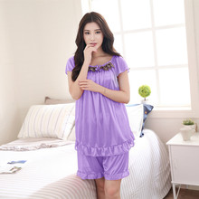 Elegant Lace Sexy Women Clothes for Summer Shorts Sets O-Neck Sleepwear Satin Pajama women #8217 s Pajamas Short Sleeve Pajama Set 4XL cheap XNF409 Round Neck Rayon SILK Solid
